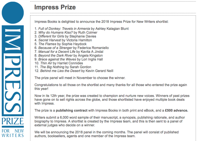 Impress Prize for New Writers 2018 shortlist Ashley Kalagian Blunt