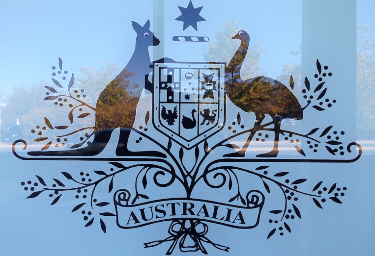 Australian coat of arms with googly eyes, Canberra