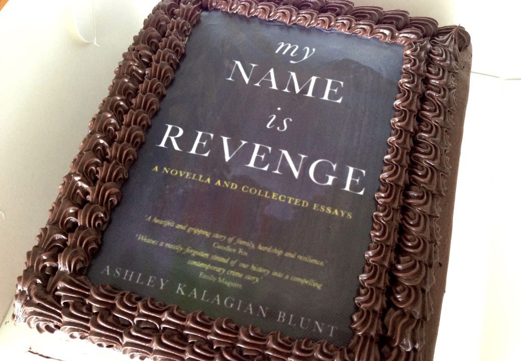 My Name Is Revenge book cover as chocolate launch cake