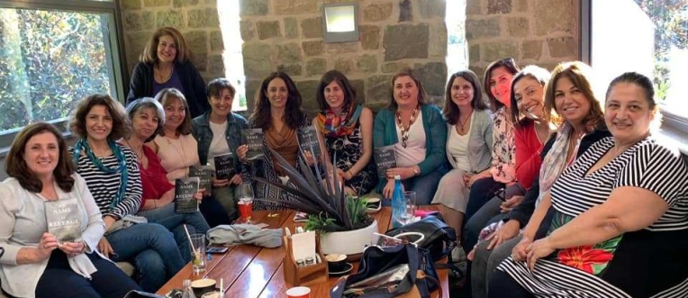 Armenian Book Club with copies of My Name Is Revenge