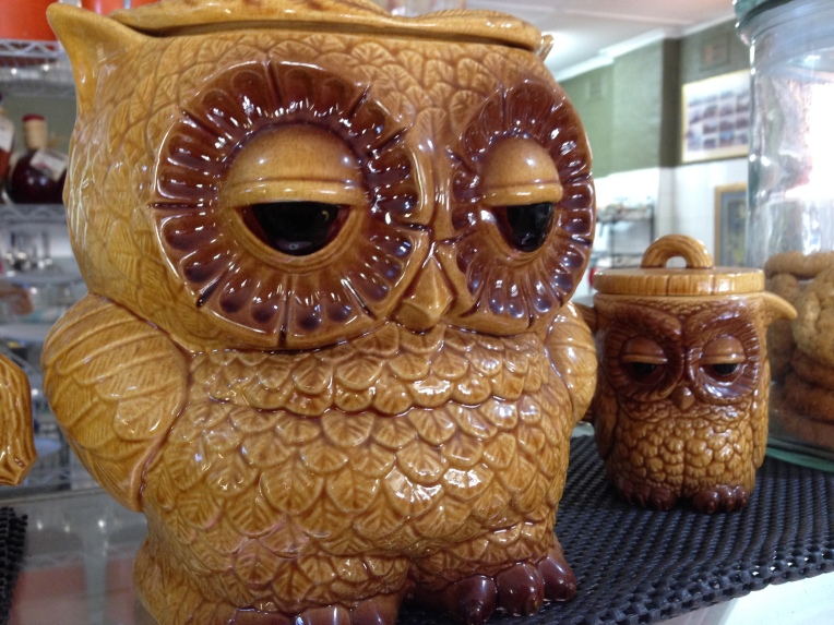 Owl cookie jars in small town Australian cafe