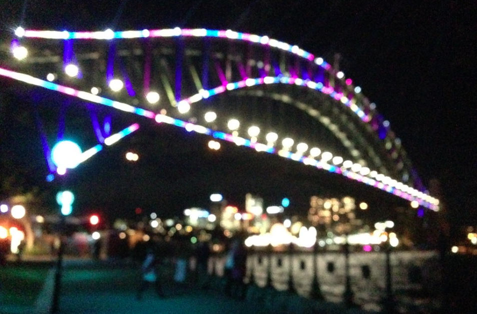 Vivid lights on Sydney Harbour Bridge, blurred