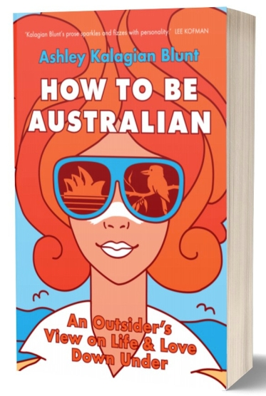 How to Be Australian book cover, red-haired woman in sunglasses on beach