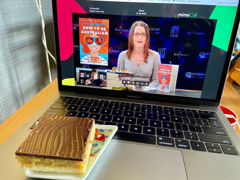 Laptop and caramel slice