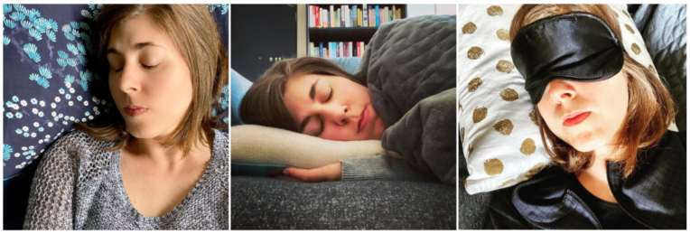 Triptych of an exhausted woman sleeping