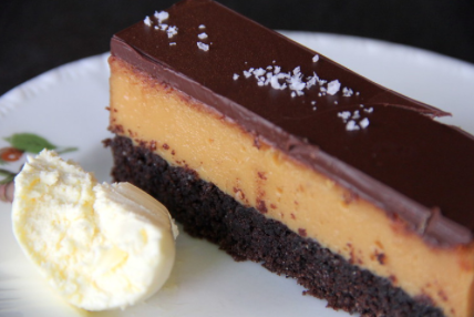 Caramel slice with cream